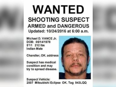 PHOTO: Wanted Poster released by the Oklahoma Highway Patrol with the image of Michael D. Vance Jr. who the authorites are searching for in connection with a double homnicide and shooting of two police officers.
