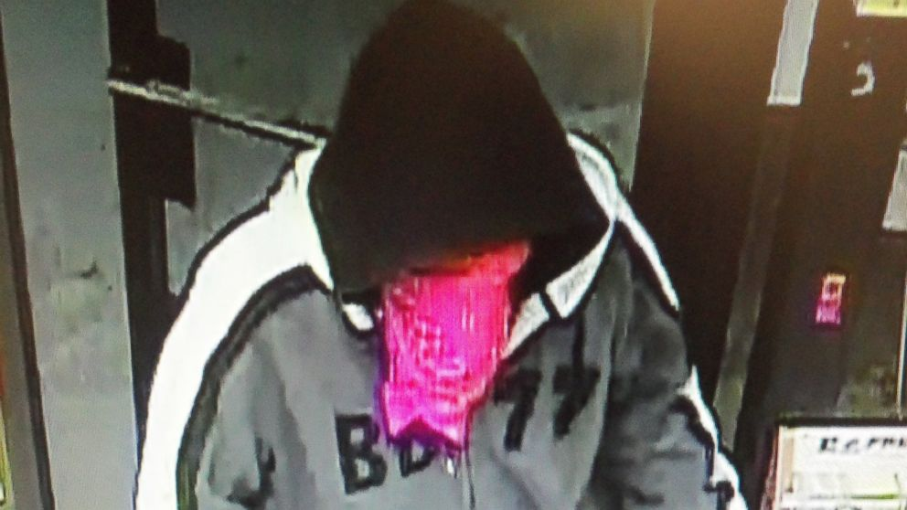 PHOTO: A suspect wearing a hoodie and a bandanna over his face was caught on surveillance video released by the Rutland, Vermont, Police Department.