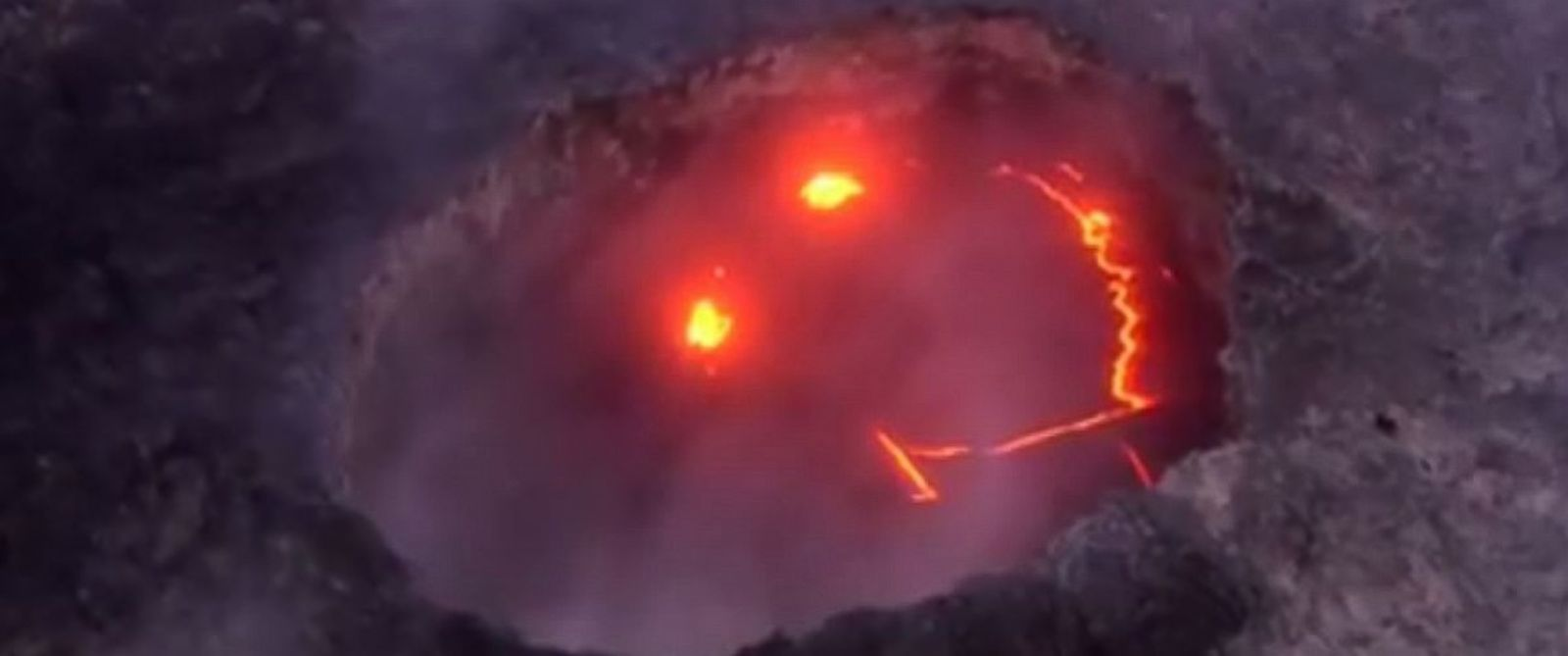 "PHOTO: A ""smiley face"" was spotted from the Kilauea volcanos crater in Hawaii, on July 27, 2016."