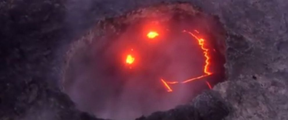"""PHOTO: A """"smiley face"""" was spotted from the Kilauea volcanos crater in Hawaii, on July 27, 2016."""