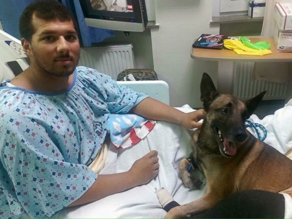PHOTO: Specialist Andrew Brown and his military dog, Rocky, are recovering from injuries from an IED blast in Afghanistan.