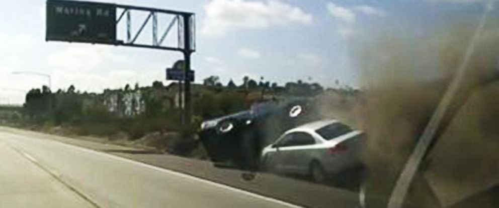 PHOTO: Road rage between two San Diego women results in a collision seen in this dash cam video grab.