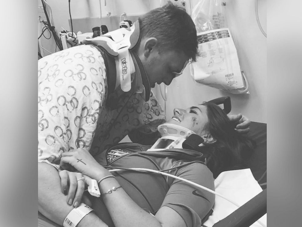 PHOTO: Arika Stovall posted this photo on her Facebook page after she and her boyfriend, Hunter Hanks, survived a car crash.