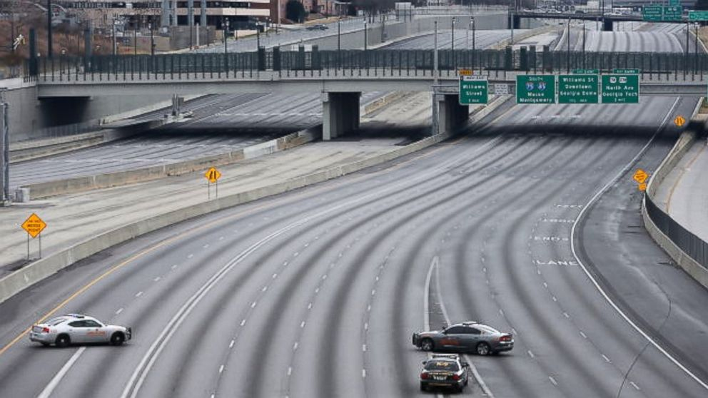 why a major atlanta highway was completely empty   abc news