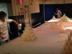PHOTO: A photo surfaced on social media showing beer pong preparations in the Chi Phi fraternity at Lehigh University.