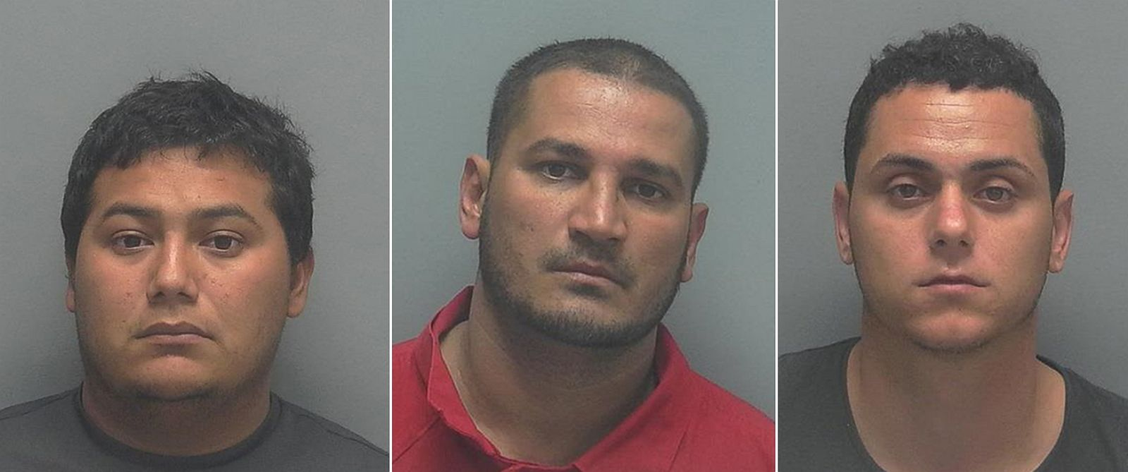 PHOTO: Suspected boat thieves from left, Vidal Benhur Ramirez-Farfan, David Llanes Vasquez and Raul De La Vega Sauri were apprehended about 125 miles east of Cancun, Mexico.