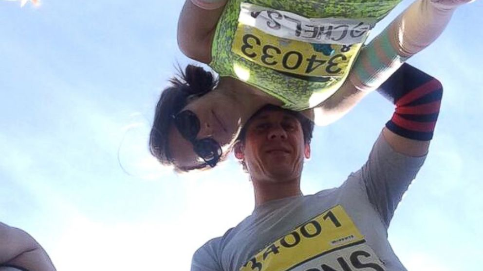 PHOTO: Dennis Crowley, CEO of Foursquare, tweeted this photo of himself with his wife, Chelsa Crowley, before the Boston Marathon, April 21, 2014.