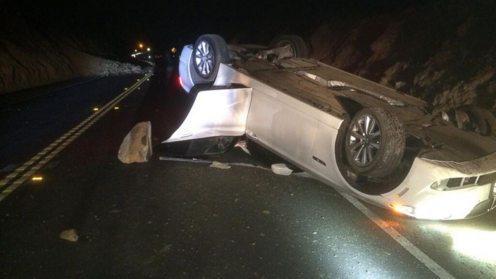 "PHOTO: @Brea PD tweeted this photo on March 28, 2014, ""Rockslide caused car to overturn. Minor injuries. Carbon canyon closed between Valencia and county line."""
