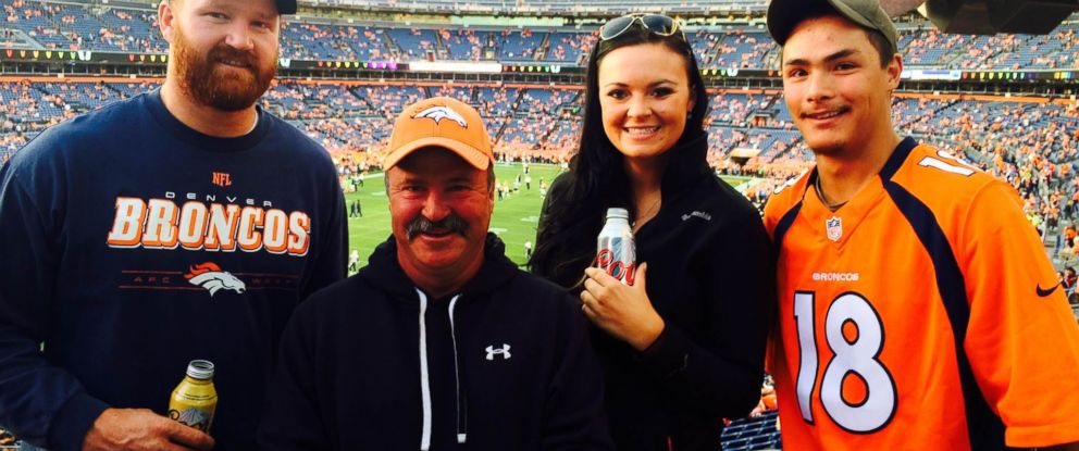 PHOTO: Paul Kitterman, second from left, poses for a photo with his stepson, Jarod Tonneson, left, and two family friends shortly before his disappearance at a Denver Broncos game on Oct. 23, 2014.