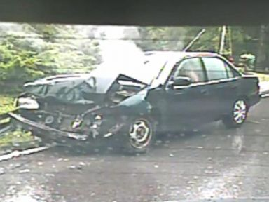 PHOTO: A video uploaded to YouTube on Dec. 16, 2014 shows two views of a car accident from front and rear cameras.