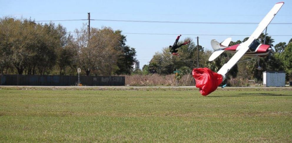 PHOTO: A Cessna collision with a skydiver and subsequent crash in Tampa, Fla., on Saturday, March 8, 2014, is captured by witness Tim Telford.