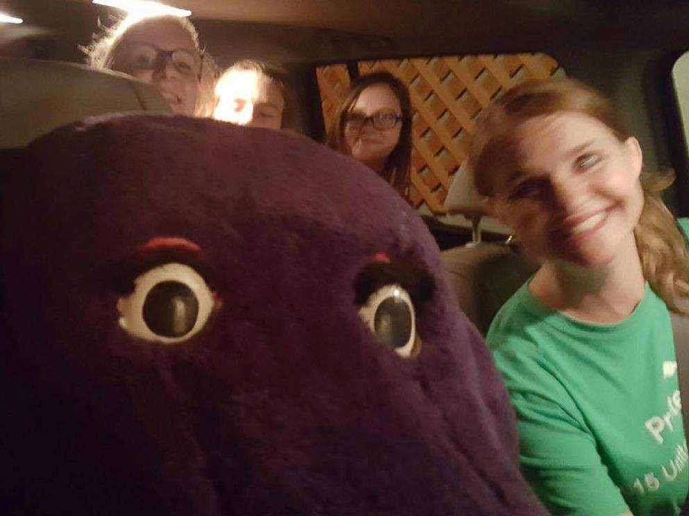 PHOTO: Firefighters in Trussville, Aalabama, helped 15-year-old Darby Risner get out of a giant Barney head she got stuck inside of on June 19, 2016.