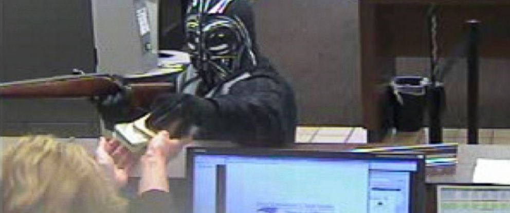 PHOTO: Police are looking for a suspect, pictured here in a Dark Vader style mask, who allegedly robbed the State Employees Credit Union in Pineville, N.C., March 16, 2015.