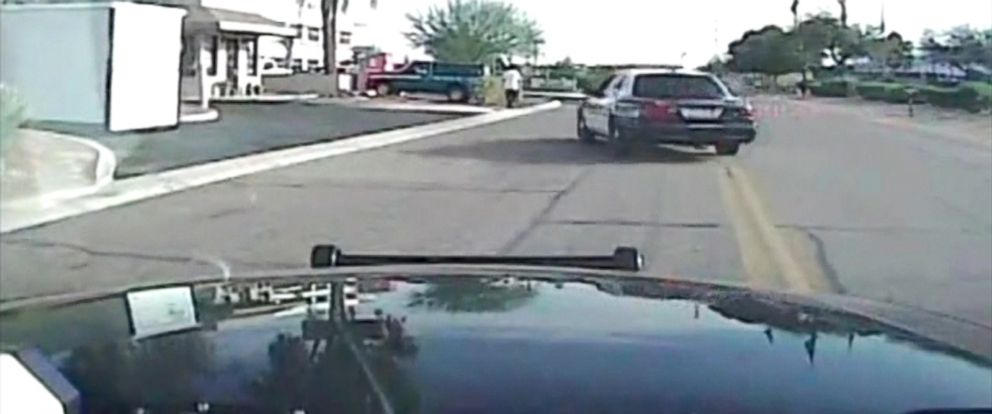 PHOTO: Police video captures a cruiser crashing into a suspect in Marana, Arizona on February 19, 2015.