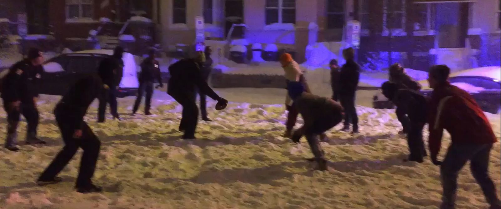 PHOTO: This still from a Twitter video posted Jan. 23, 2016, shows some Washington, D.C. officers taking part in a pickup football game amid a powerful blizzard that swept the East Coast.