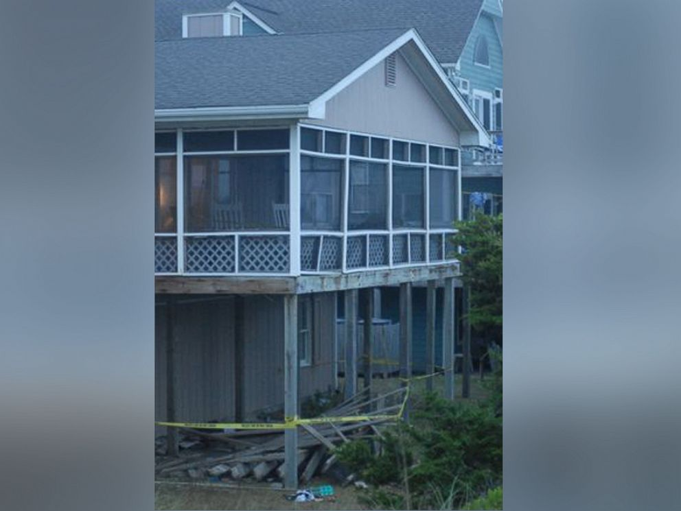 PHOTO: Scene from a deck collapse of the beach home in Emerald Isle, N.C<br /><br />                </div>                     <p class=