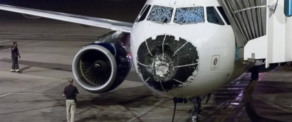 """PHOTO: Jeff Johnson posted this photo to Twitter on Aug. 8, 2015 with the caption, """"Hail damage to my plane while flying from Boston to Salt Lake. Emergency landing in Denver."""""""