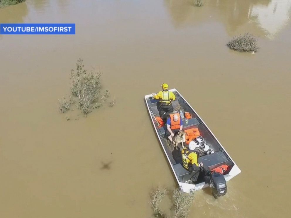 PHOTO: A man flying a drone in Cumberland County, North Carolina helped rescue a Chris Williams from his home after Hurricane Matthew.