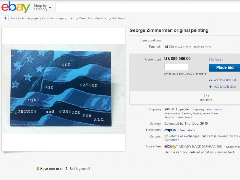 PHOTO: George Zimmermans original painting is being sold on ebay.