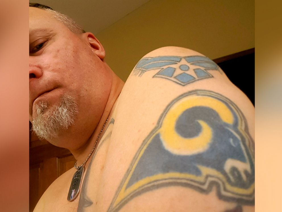 PHOTO: Gary Zimbelman says hell be covering his Rams tattoo with a Ghostbusters-type logo now that theyve been relocated to Los Angeles.