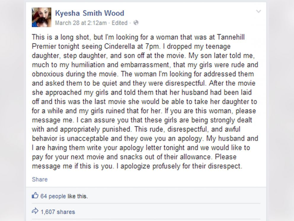 PHOTO: Kyesha Smith Wood wrote this Facebook post, March 28, 2015.