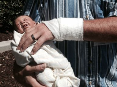 PHOTO: The fake baby a man was carrying as he and another woman tried to sneak into the mother and baby unit at Mercy Medical Center in Merced, Calif., hospital officials said.