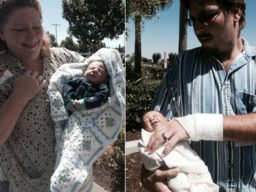 PHOTO: This couple carrying dolls wrapped up like real babies tried to sneak into a California hospital's family birth center, officials said.