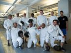 PHOTO: embers of the Fencers Club Veterans On Guard Fencing Program. Back Row Standing: Orlando, Gervacio, Peter K., Debora, Zach, Peter B., Coach Slava. Front Row Kneeling: Alberto, Latoya, Harold, Nick.