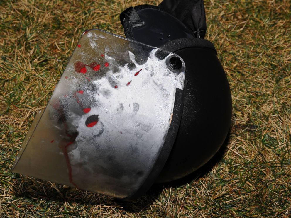 PHOTO: The St. Louis County Police posted images on their Facebook page of a bloodied police helmet on the ground after two police officers were shot outside of the Ferguson Police Department early March 12, 2015.