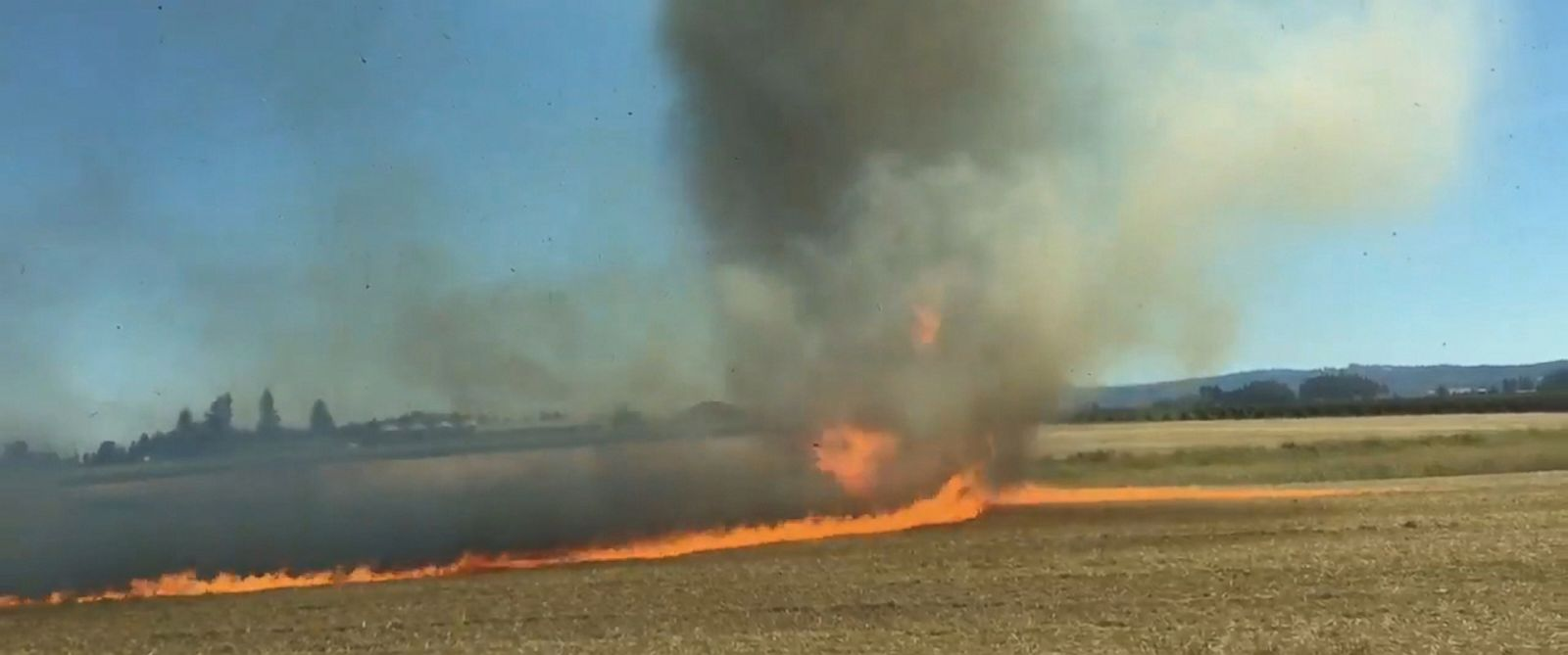 PHOTO: The Cornelius Fire Department in Oregon captured a firenado after a field fire charred nearly seven acres of land about 20 miles west of Portland.