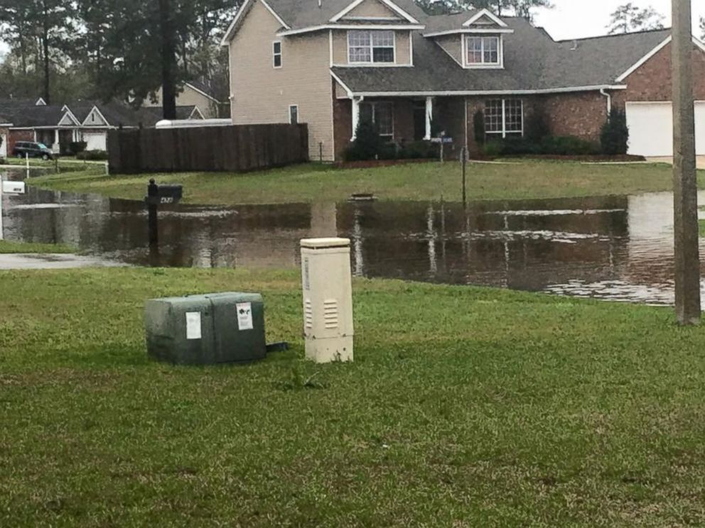 PHOTO: Amy Fahertys home in Covington, Louisiana, was damaged by flooding after severe weather in the state.