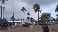 PHOTO: Four children were inside an inflated bouncy castle when it was flipped over on a Florida beach.