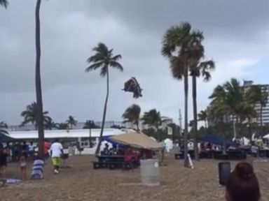 Powerful Waterspout Hurls Kids Bouncy Castle Through the Air