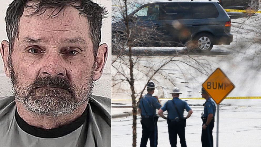 PHOTO: Left, Frazier Glenn Cross is seen in this April 13, 2014 booking photo; right, Kansas State Troopers stand outside a police line near the location of a shooting at the Jewish Community Center in Overland Park, Kan., on April 13, 2014.