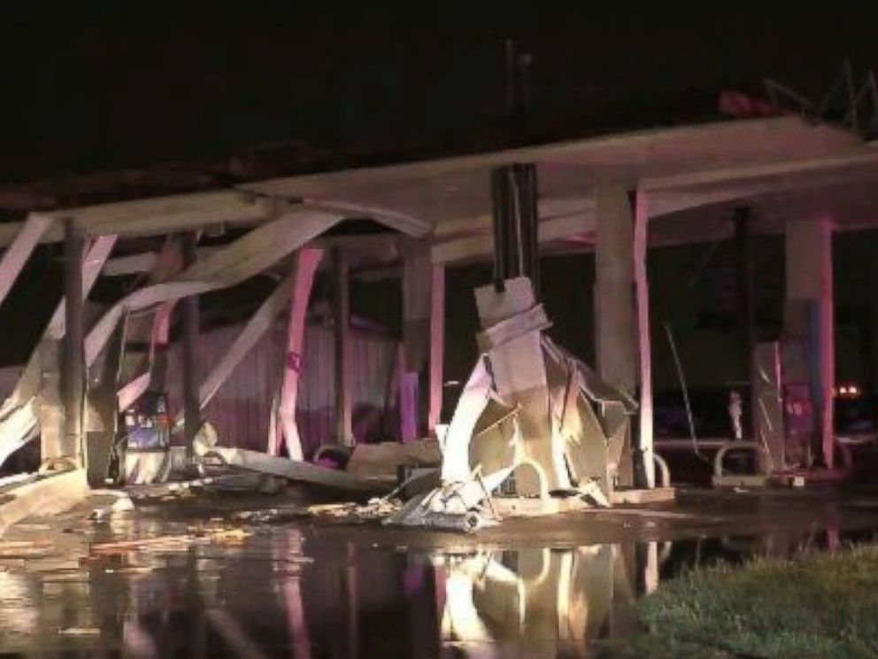 PHOTO: An image posted via Twitter on December 26, 2015 of a gas station demolished in Copeville, Texas, following a tornado that hit the city.