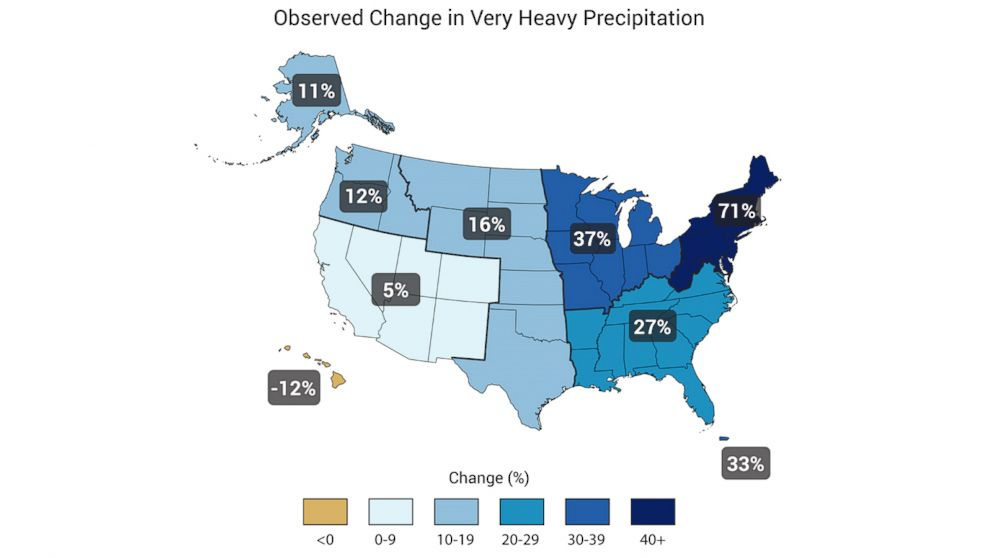 PHOTO: A map of rain from the U.S. Global Change Research Program National Climate Assessment (2014)
