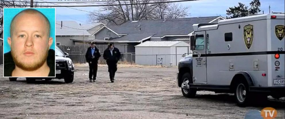 PHOTO: An armored car, driven by Trent Michael Cook, inset, was found empty, with the engine running, in an alley in Amarillo, Texas, Dec. 22, 2014.