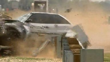PHOTO: Crash test video shown in a court case against Trinity Industries, a major guardrail maker, showed what the company called experimental version of the device failing.