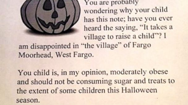 HT halloween letter lpl 131030 16x9 608 ND Woman Plans Halloween Trick: Letters, Not Candy, for Obese Kids
