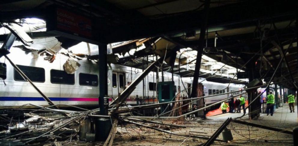 PHOTO: NJ Transit train crashed in to the platform at the Hoboken Terminal, Sept. 29, 2016, in Hoboken, New Jersey.