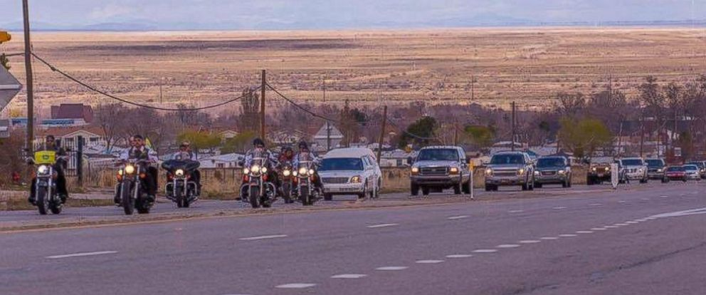 PHOTO: Thousands of motorcyclists came out on March 12, 2016, in Magna, Utah, to ride in a funeral procession for the death of 5-year-old Hunter Weiss. The young boy loved motorcycles.