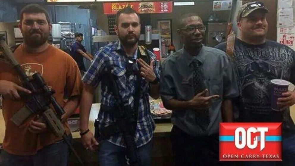 PHOTO: Members of Open Carry Texas staged a protest outside a fast food restaurant in Texas last week.