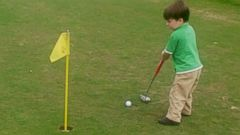 PHOTO: At 3-years-old, James Grimes is an avid golfer, practicing at least four times a week.