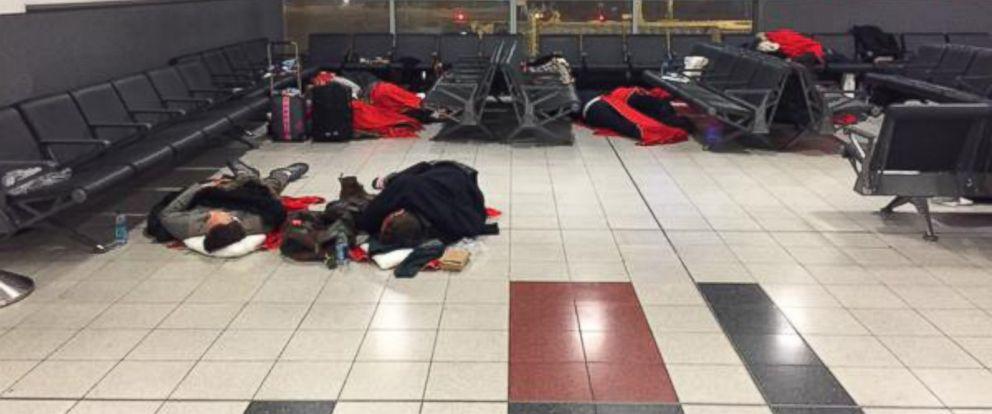 PHOTO: Passengers spend the night at John F. Kennedy International Airport in New York, Jan. 26, 2015.