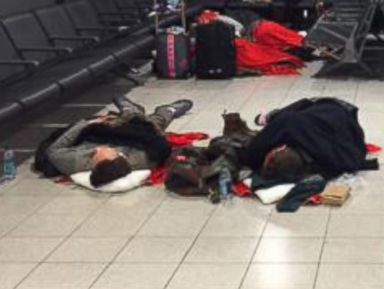 Passengers Stranded at the Airport Due to Northeast Storm