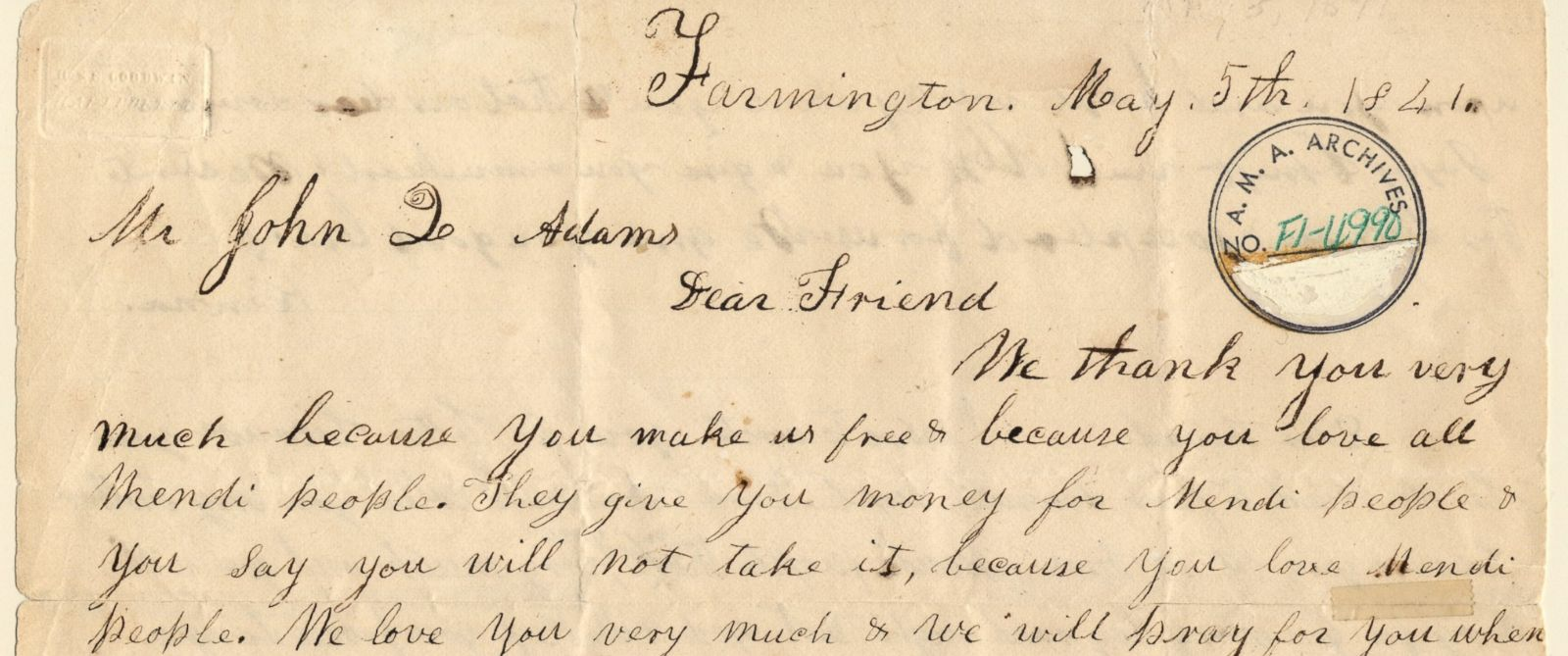 PHOTO: A handwritten thank you note written by freed slaves to former President John Quincy Adams has been republished ahead of the 175th anniversary of the Amistad rebellion.