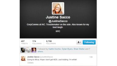PHOTO: Justine Sacco, director of corporate communications for IAC, tweeted out Friday: Going to Africa. Hope I dont get AIDS. Just kidding. Im white!