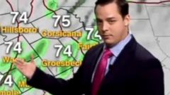 PHOTO: Patrick Crawford, a meteorologist in Texas, is seen giving the weather forecast.