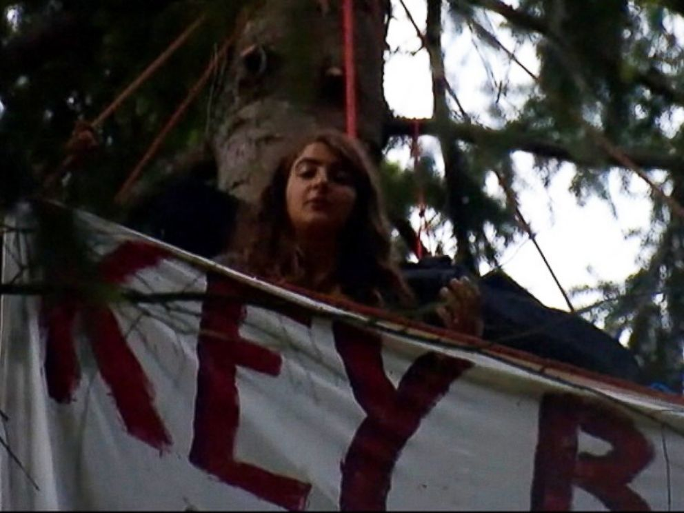PHOTO: Chiara DAngelou, 19, said she has been practicing climbing trees to protest against mall sprawl in Bainbridge Island, Washington.