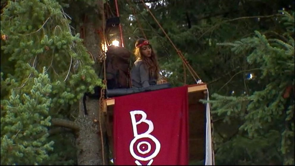 "PHOTO: ""Chiara DAngelou, 19, said she has been practicing climbing trees to protest against mall sprawl in Bainbridge Island, Washington."""